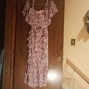 Size XL Floral Print Ruffled Off-Shoulder Jumpsuit